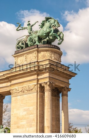 Detail of the monument on the Heroes square in Budapest, Hungary. - stock photo