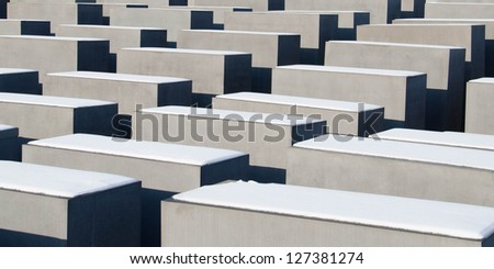 Detail of the Monument to the Holocaust in Berlin, Germany - stock photo