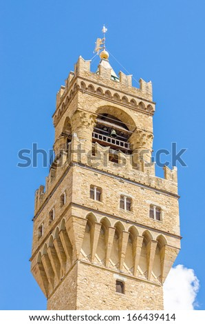 Detail of the Old Palace (Palazzo Vecchio or Palazzo della Signoria), in Florence (Italy).