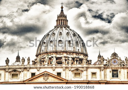 "Detail of the Palace of the Vatican, ""The Dome"" with beautifull sky. - stock photo"