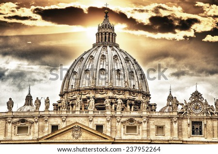"""Detail of the Palace of the Vatican, """"The Dome"""" with beautifull sky. - stock photo"""