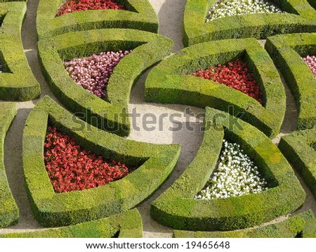 Detail of the part of the Love Garden, in the Formal Gardens at the Chateau de Villandry in the Loire Valley of France - stock photo