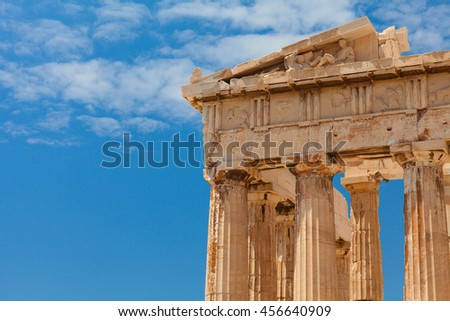 Detail of the Parthenon temple. Parthenon - is a former temple on the Athenian Acropolis, Greece, dedicated to the goddess Athena, whom the people of Athens considered their patron. Athens, Greece.