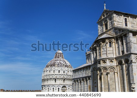 Detail of the Piazza dei Miracoli in Pisa, Italy - stock photo