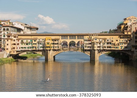 Detail of  the Ponte Vecchio Bridge over the Arno River,Florence , Italy