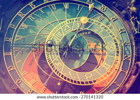 Detail of the Prague Astronomical Clock  in the Old Town of Prague. Photo instagram style. vintage retro. - stock photo