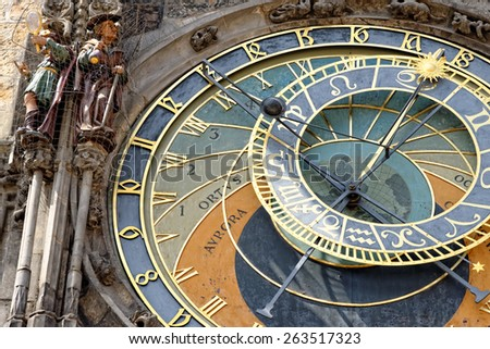 Detail of the Prague Astronomical Clock (Orloj) in the Old Town of Prague, Czech Republic.