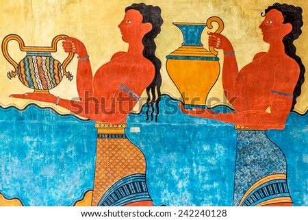 detail of the Procession Fresco at Knossos Palace in Crete, Greece