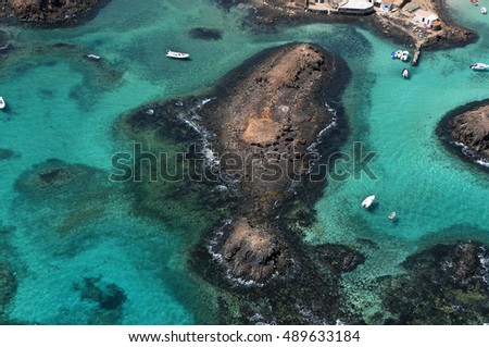 Detail of the puertito of the island of Lobos, near Fuerteventura in the Canary Islands