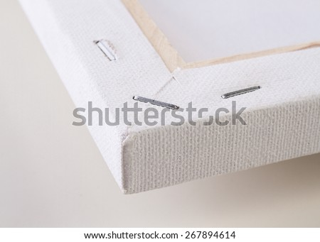 Detail of the reverse side of a blank canvas - stock photo