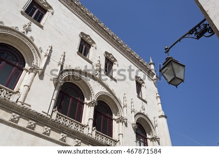 Detail of the Romantic Neo-Manueline facade of the Rossio Railway Station  in Lisbon, Portugal
