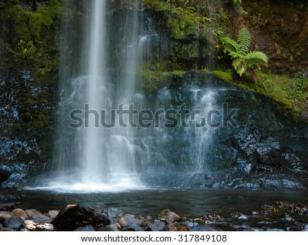 Detail of the Russell Falls at Mt Field, Tasmania, Australia - stock photo