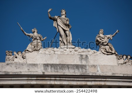 Detail of the sculptures of the Teatro Verdi in Trieste, Italy - stock photo