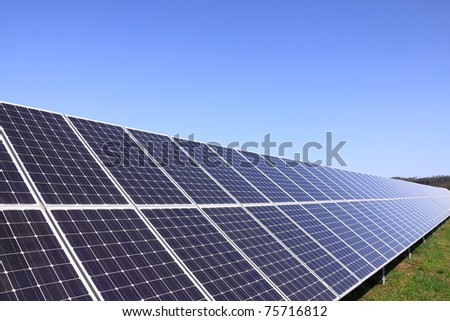 Detail of the Solar Power Station in the green Nature