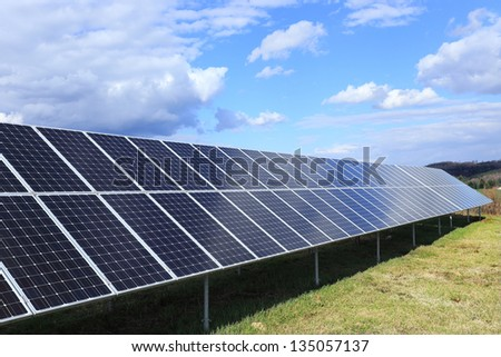 Detail of the Solar Power Station in the spring Nature