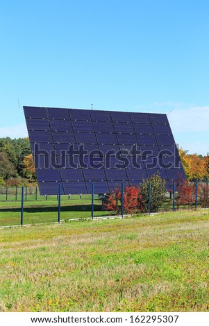 Detail of the Solar Power Station on the autumn Meadow