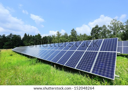 Detail of the Solar Power Station on the summer Meadow  - stock photo