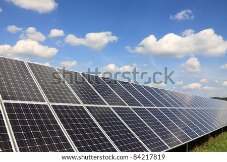 Detail of the Solar Power Station with blue Sky