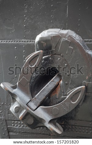 Detail of the Soldek anchor on the boat in the old port in gdansk, Poland