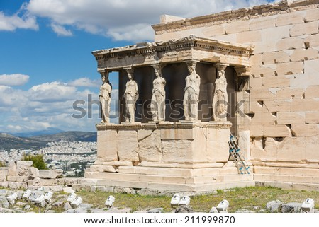 Detail of the south porch of Erechtheion with the Caryatids - stock photo