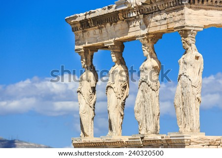Detail of the south porch of Erechtheion with the Caryatids. Athens, Greece - stock photo