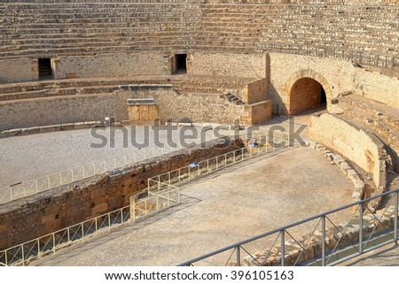 Detail of the stage and tribunes of an Ancient Roman amphitheater in Tarragona, Catalonia, Spain