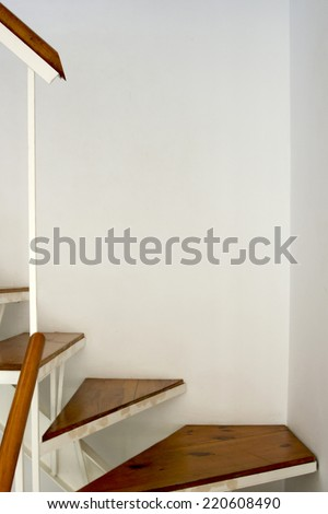 Detail of the staircase in the angular segment of the house. - stock photo