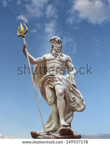 Detail of the statue of Poseidon on isolated sky background at venezia hua hin Thailand  - stock photo