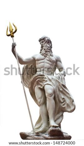 Detail of the statue of Poseidonon on isolated white background at venezia hua hin Thailand  - stock photo