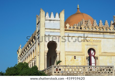 Detail of the Sticchi palace (Villa Sticchi) built in moorish style between 1894 and 1900. Santa Cesarea Terme, Salento, Apulia, Italy.