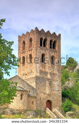 Detail of the stone tower above the church of St Martin du Canigou monastery , Pyrenees-Orientales department, France