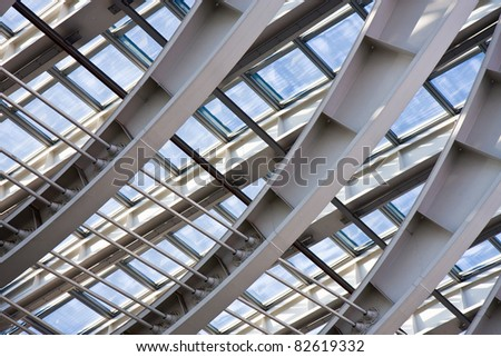 Detail of the structure of a modern roof