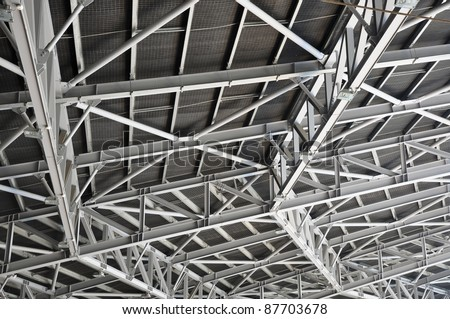 Detail of the structure of a stadium roof - stock photo