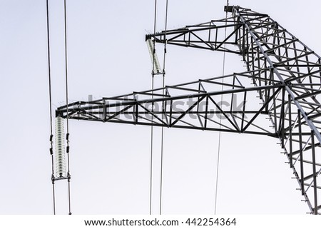 Detail of the support of high-voltage power lines.