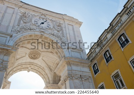 Detail of the the Triumphal Arch of Augusta Street in Lisbon, Portugal - stock photo