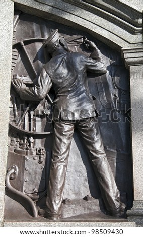 Detail of the Titanic Engineers Memorial in Southampton, UK. The Titanic sank on it's maiden voyage from Southampton to New York, April 15th 1912. - stock photo