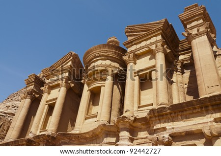 Detail of the top portion of the Monastery in Petra, Jordan - stock photo