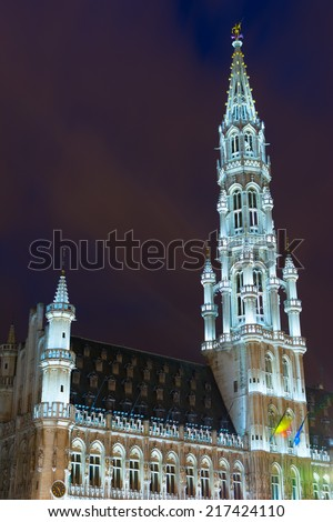 Detail of the Town Hall (Hotel de Ville) in the Grand Place, the focal point of Brussels, Belgium. - stock photo