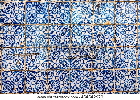 Detail of the traditional Portuguese colonial tiles (azulejos) from facade of old house in Sao Luis, Brazil