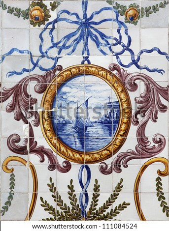 Detail of the traditional tiles (azulejos) on facade of old house in Lisbon, Portugal - stock photo