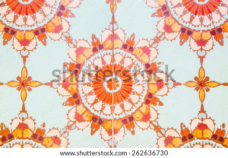 Detail of the traditional tiles background. - stock photo