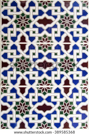 Detail of the traditional tiles from facade of old house in Valencia - stock photo