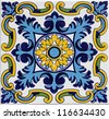Detail of the traditional tiles from facade of old house in Valencia, Spain - stock photo