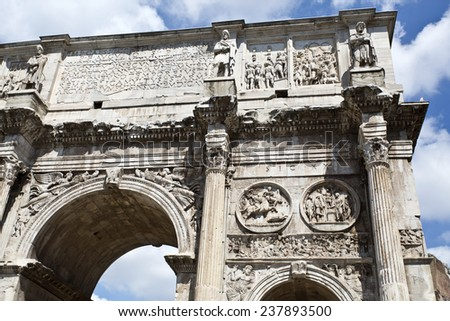 Detail of the triumphal Arch of Constantine in Rome, situated between the Colosseum and the Palatine Hill - stock photo