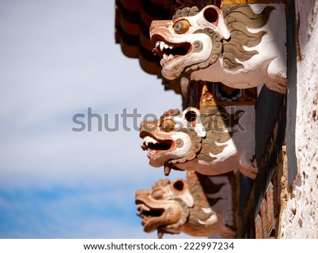 Detail of the Trongsa Dzong which is the largest dzong in Bhutan - stock photo