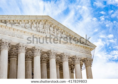 Detail of the United States Supreme Court building in Washington, DC