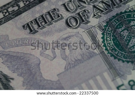 Detail of the US $5 Bill 1 - stock photo