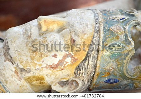 Detail of the 800 year old tomb of King Henry II of England at Fontevraux Abbey - stock photo