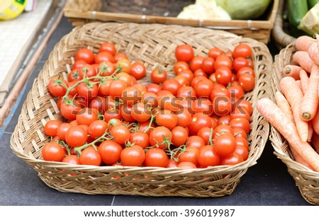 detail of tomatoes at market in italy
