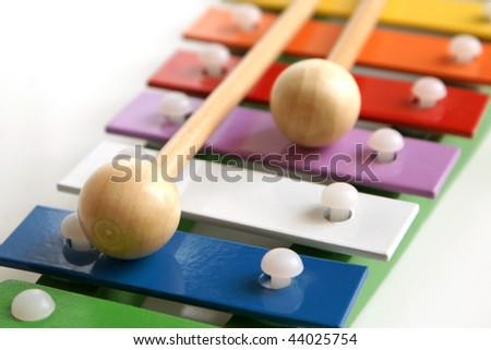 Detail of toy colorful xylophone - stock photo